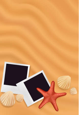starfish on beach: Sea shells with photos on the sand background. Traveling to the sea concept. Vector illustration.