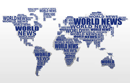 digital news: World news concept. Abstract world map made from World news words. Vector. Illustration