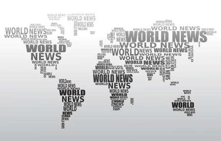 actuality: Concetto di notizie del mondo. Mappa del mondo astratto fatto da parole di notizie del mondo. Vector.  Vettoriali