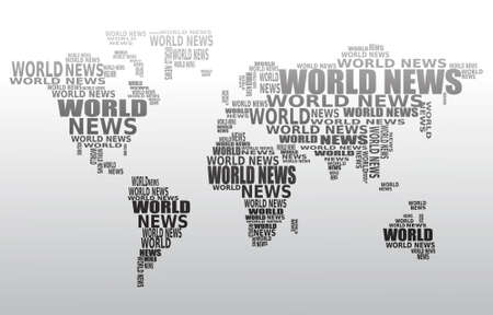 worldmap: World news concept. Abstract world map made from World news words. Vector.