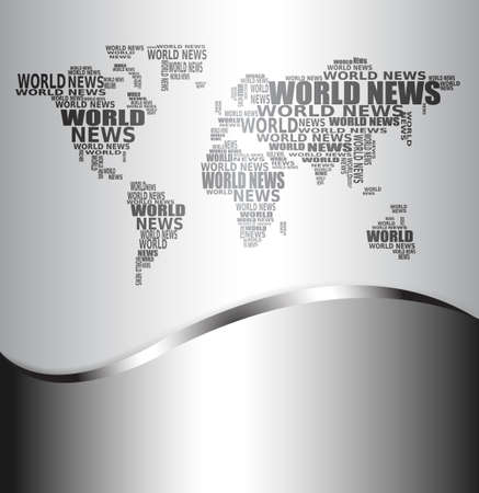 news background: Abstract background with world map made from World news words. Vector.