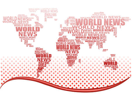 actuality: World news concept. Abstract world map made from World news words. Vector.