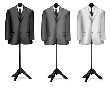 man clothing: Black and white suits on mannequins. Vector illustration.
