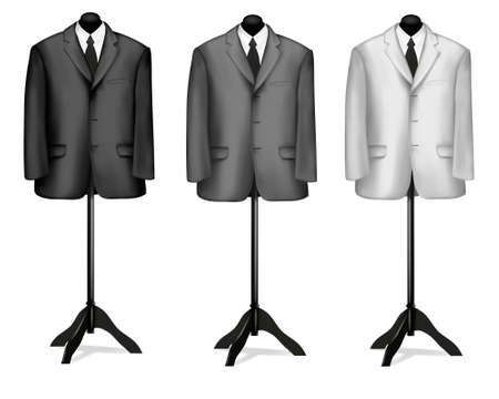 bata blanca: Trajes en blanco y negro en maniqu�es. Ilustraci�n vectorial.