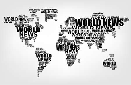 business news: World news concept. Abstract world map made from World news words. Vector.