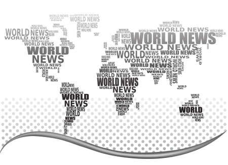 World news concept. Abstract world map made from World news words. Vector.  Stock Vector - 10205177