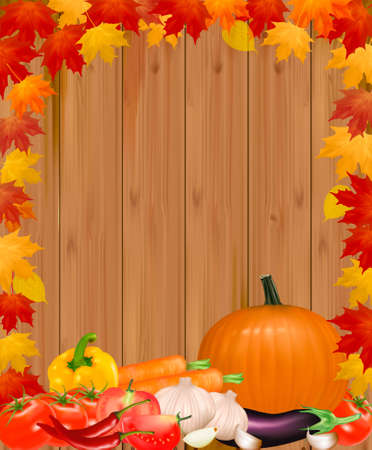 pumpkin tomato: Autumn background with vegetables. Vector.