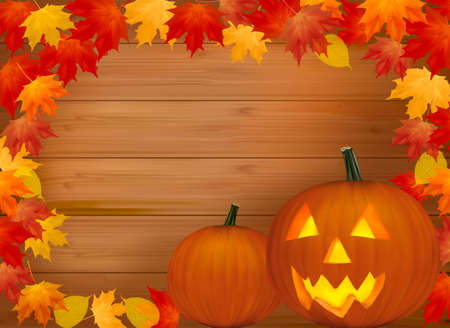 Halloween background with old paper, and scary pumpkin. Vector. Stock Vector - 10205196