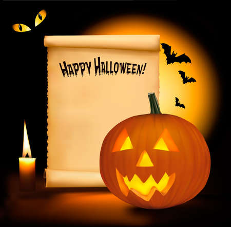 Halloween background with old paper, and scary pumpkin. Vector. Stock Vector - 10205188