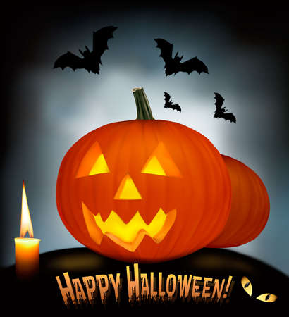 Halloween background with old paper, and scary pumpkin. Vector. Stock Vector - 10205181