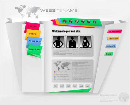 Business WebSite Template with accurate origami.