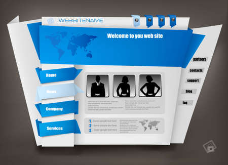Blue business website design template. Stock Vector - 10255584