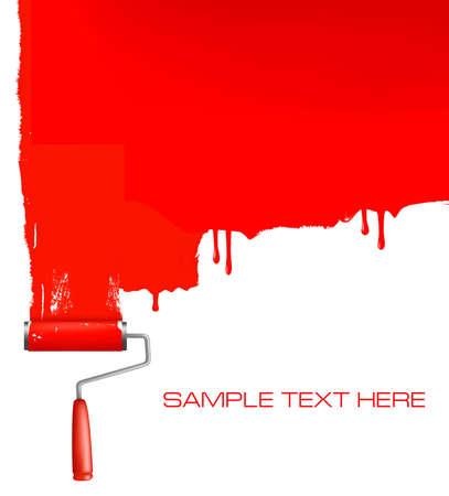 Rouge rouleau à peindre le mur blanc.