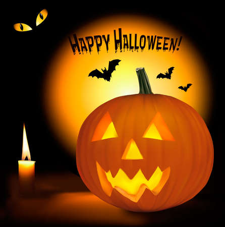 happy cat: Halloween Hintergrund mit unheimlich K�rbisse, Flederm�use, Katze, Augen und eine Kerze. Vector. Illustration