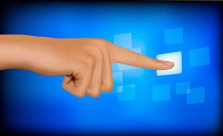 Hand touching a button. Solution concept. Vector.  Stock Vector - 10290036
