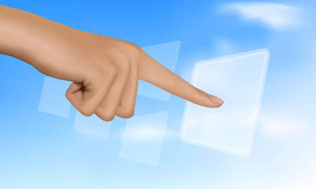 hand touch: Hand touching a button. Solution concept. Vector.
