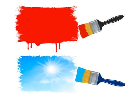 Two paintbrushes painting banners - red paint banner and a sky banner. Vector.  Vector