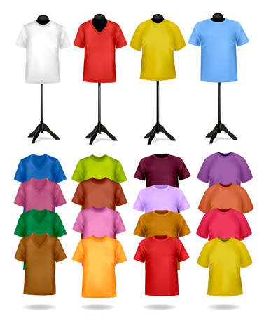 clothing shop: White and color t-shirts on mannequins. Vector illustration.  Illustration