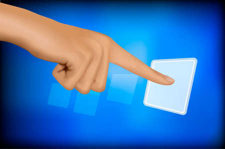 touch screen hand: Hand touching a button. Solution concept. Vector.