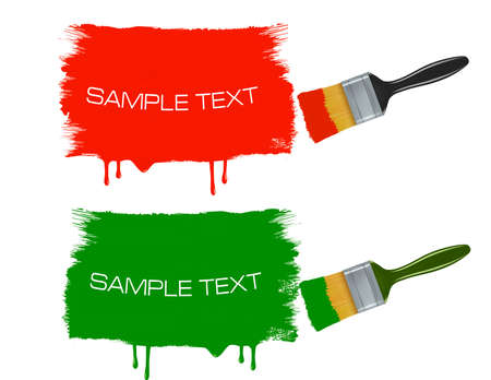 redecorate: Colorful banners with paintbrushes. Vector.