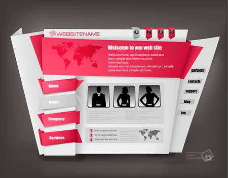 Red business website design template. Vector illustration.  Stock Vector - 10290038