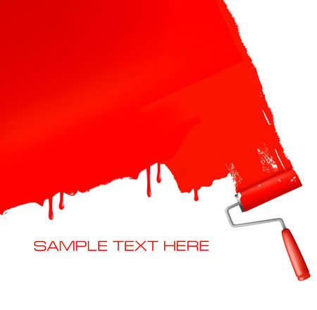 redecorate: Red roller painting the white wall. Vector background.