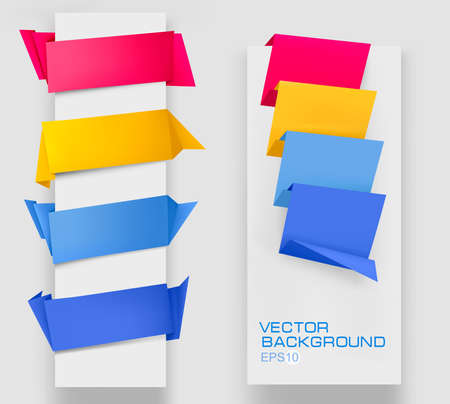 sticky tape: Set of colorful origami paper banners. Illustration
