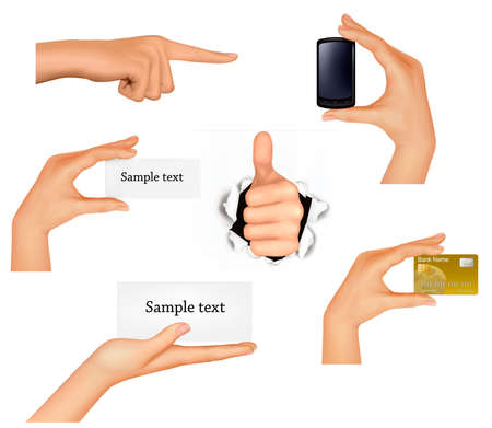 hand job: Set of hands holding different business objects.  Illustration