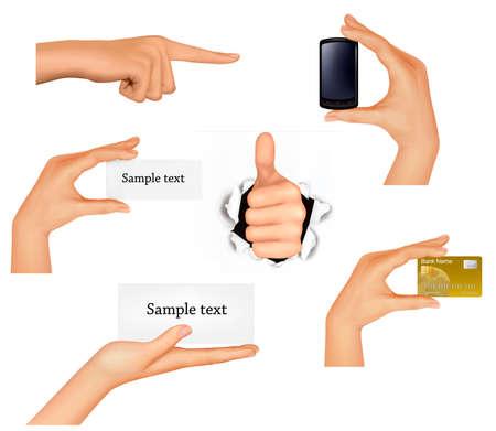 hand holding card: Set van handen met verschillende zakelijke objecten.  Stock Illustratie