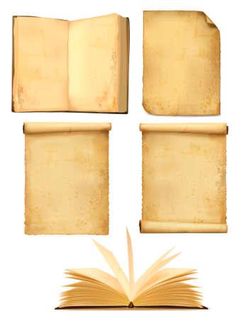 Conjunto de viejas hojas de papel. Ilustración vectorial.