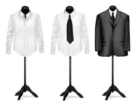 dress coat: Abito nero e camicia bianca su manichini. Illustrazione vettoriale.  Vettoriali