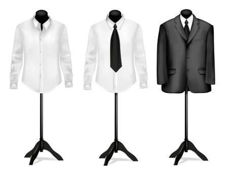 dress coat: Black suit and white shirt on mannequins. Vector illustration.