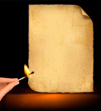 Background with old paper and hand holding a burning match. Vector illustration  Vector