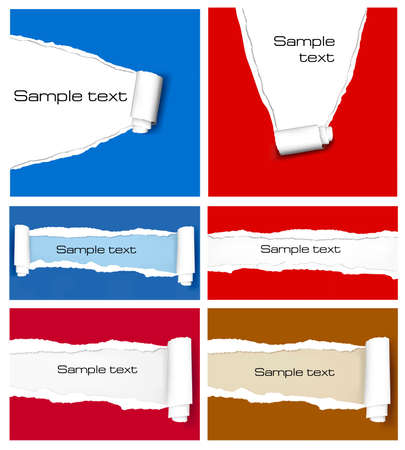 ripped paper: Set of ripped colorful paper backgrounds. Vector illustration