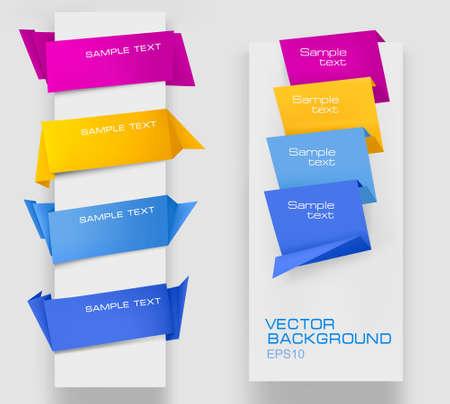 onglet: Ensemble des banni�res de papier color�. Illustration vectorielle.