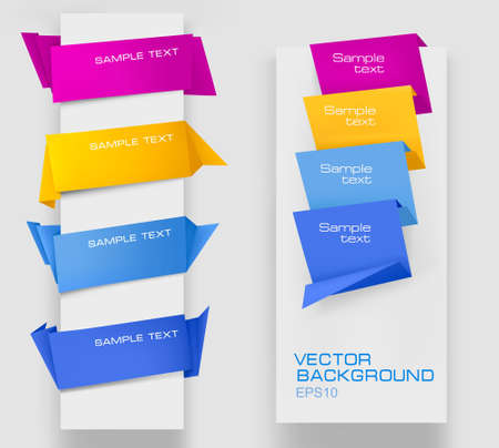 Set of colorful paper banners. Vector illustration.  Vector