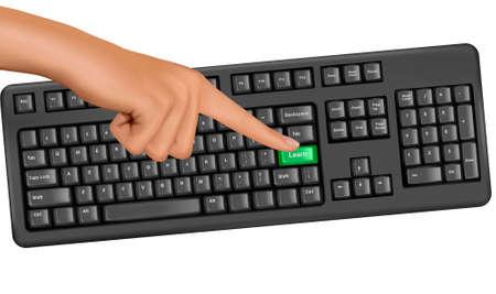 Hand touching key help. Vector.