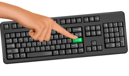 hands on keyboard: Hand touching key help. Vector.