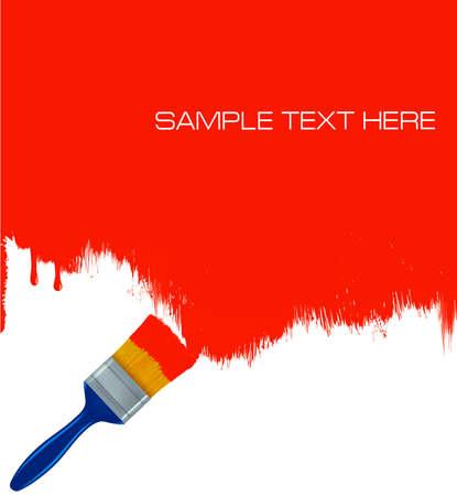 Pinceau de peinture rouge le mur blanc. Vecteur de fond. Vecteurs