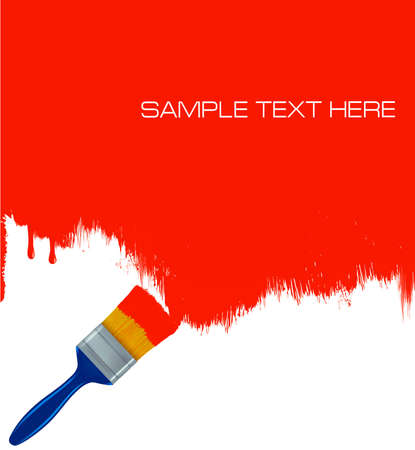 interior designer: Red paintbrush painting the white wall. Background vector.