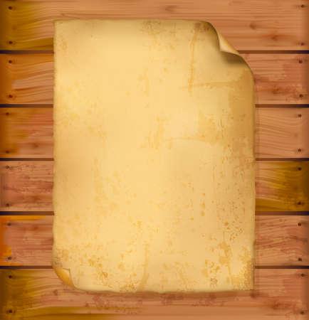carta da lettere: Vecchia carta su una parete in legno. Vettoriali