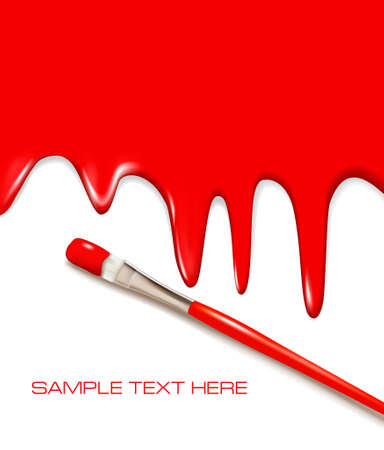 redecorate: Red paintbrush painting the white wall. Background vector.