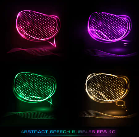Set of abstract neon speech bubble banners Stock Vector - 10421339