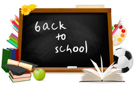 Back to school. Black desk with school supplies 向量圖像