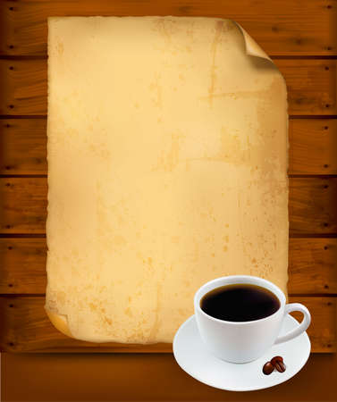 menu card design: Restaurant menu on the old paper and coffee