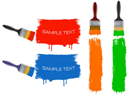 paint roller: Colorful banners with paintbrushes