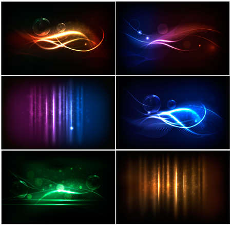 Set of colorful abstract neon backgrounds Stock Vector - 10421342