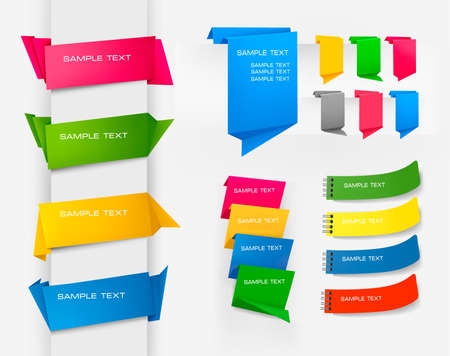 marcadores de libros: Enorme conjunto de banderas de papel de origami colorido