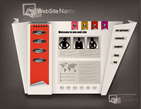Business website template with origami illustration Vector
