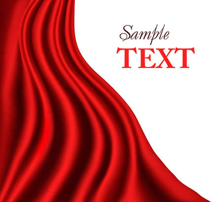 tela seda: Tel�n de fondo de sat�n rojo, ilustraci�n vectorial.